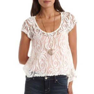 NWOT White Floral Lace Sheer Flowy Top